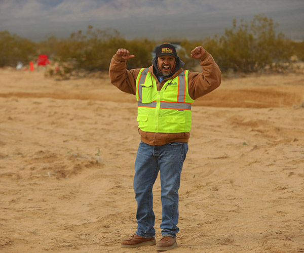 best in the desert volunteer working at off road race