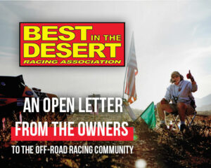 an open letter from the owners to the off-road racing community news release