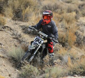 Peyton Maas racing youth class at 2021 world hare and hound motorcycle off road racing event