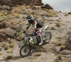 Bryce Stavron desert racing motorcycle class during 2021 world hare and hound championship