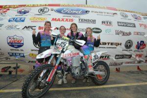 W15 Ashlee Gage, Mica Diaz, Rebecca and Rachel Stout KTM mounted team.